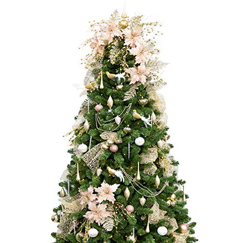 KI Store 7FT Artificial Christmas Tree with Ornaments and Lights Rose Gold Champagne Christmas Decorations Including 7 Feet Full Tree, 147pcs Ornaments, 2 pcs 59ft USB Mini LED String Lights