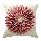 OiseauVoler 3D Sunflowers Handmade Throw Pillow Cases Faux Wool Decorative Cushion Covers Canvas Pillowcases Home Sofa Car Bed Room Decor 18 x 18 Inch Pink