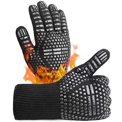 Guantes de Barbacoa,Guantes para Horno,Guantes de Cocina BBQ Gloves Extremadamente Resistentes hasta 1472 ℉ / 800 ℃, Guantes de Barbacoa para Parrilla, Hornear, Cocina (1 Par)(Negro)