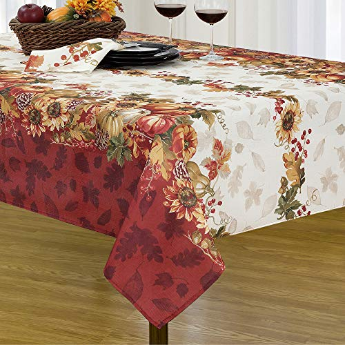 """Elrene Home Fashions Swaying Leaves Bordered Fabric Tablecloth for Fall/Thanksgiving/Harvest, 60""""x120"""", Multi"""