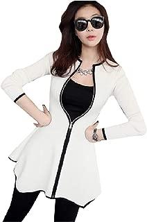 RkBaoye Womens Contrast Color Jackets Front Zipper Dresses Long Top Coat
