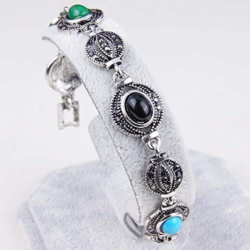 Zuiaidess Pulseras para Mujer,Personalidad Vintage Pulsera Linterna Forma Diamante Gema Multicolor Pulseras para Niñas Mujer Joyas De Desgaste Cotidiano