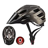 CIGNA Mountain Bike Helmet CPSC Certified for Adults Men/Women, Adjustable MTB Cycling Bicycle Helmet with Rechargeable Led Light Long Detachable Visor - Titanium
