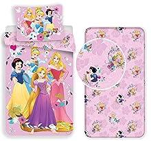 Princesas 3 piezas Juego de cama individual funda nórdica + funda de almohada + sábana bajera de algodón Ropa de cama infantil