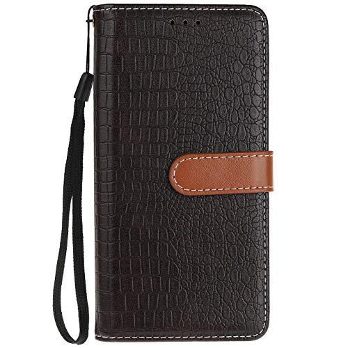ocketcase® Wiko Tommy 2 Hülle, PU Leder Flip Case Wallet Stylish mit Standfunktion Schutzhülle (Krokodilkorn 6)