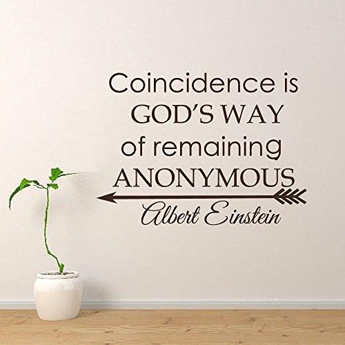 Calcomanía de pared con cita de científico para la coincidencia es la manera de los dioses de permanecer en la pared anónima, cita inspiradora para la sala de estar o el hogar (marrón oscuro, 55,88 cm x 78,74 cm).