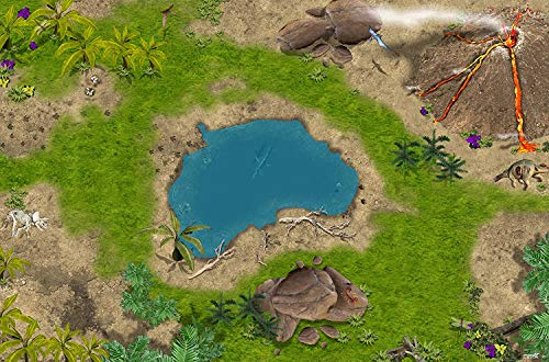 Dinosaurier Spielmatte (ähnlich Spielteppich) | SM02 | Hochwertige Dino Spiel-Matte für das Kinder-Zimmer | ideales Zubehör zu Spiel-Figuren von Schleich, Playmobil, Papo, Bullyland & Co | 150 x 100 cm | STIKKIPIX