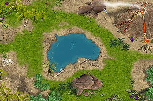 STIKKIPIX Dinosaurio Tiempo primitivo Mapa del Mundo Alfombra Infantil de Juego | SM02 Cuarto de los niños | Tamaño: 150 x 100 cm | Accesorios adecuados para Schleich, Papo, Bullyland, Playmobil etc