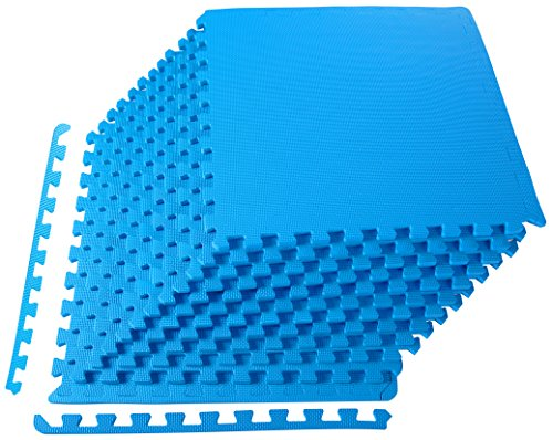 BalanceFrom Puzzle Exercise Mat with EVA Foam Interlocking Tiles, Blue