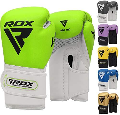 RDX Boxhandschuhe Kinder für Muay Thai & Training | Convex Leder Punchinghandschuhe | Gut für Kickboxen, Kampfsport, MMA, Sparring, Boxsack, Sandsack Junior Boxing Gloves (MEHRWEG)