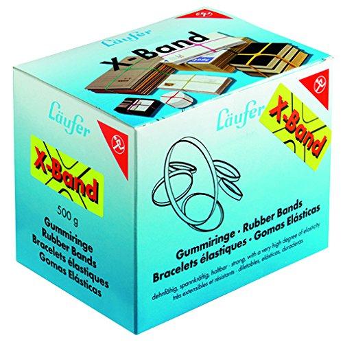 Läufer 59080 Rondella X-Band, elastische Kreuzbänder, Gummibänder 80 x 11 mm, Durchmesser 50 mm, 500g Schachtel, bunt