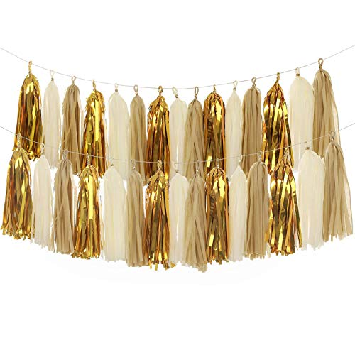 MerryNine Tissue Tassels Garlands, 40PCS Tassels, 14 Inch Long Tassels, for Wedding, Baby Shower, Event & Party Supplies Decoration (Tan/Ivory/Gold Set)