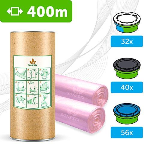 400 M - ECO Recharge de poubelle à couches Compatible avec Sangenic TEC & Simplee | Angelcare | Litter Locker Qualité Supérieure + Tube Carton EasyRefill,+ Parfum Fleurs