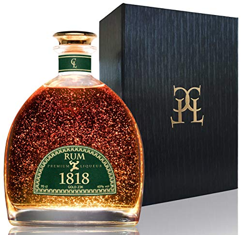 Coffret Rhum Vieux XO 1818 - Premium Liqueur Feuille d'or 23 Carats - Republique Dominicaine Rum - Traditionnel Ron Anejo Reserva - Avec Coffret Cadeau & Certificat d'or 40% 70 cl