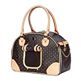 Adriene's Choice Luxury Pet Carrier, Puppy Small Dog Carrier, Cat Carrier Bag, Waterproof Premium PU Leather Carrying Handbag for Outdoor Travel Walking Hiking Shopping
