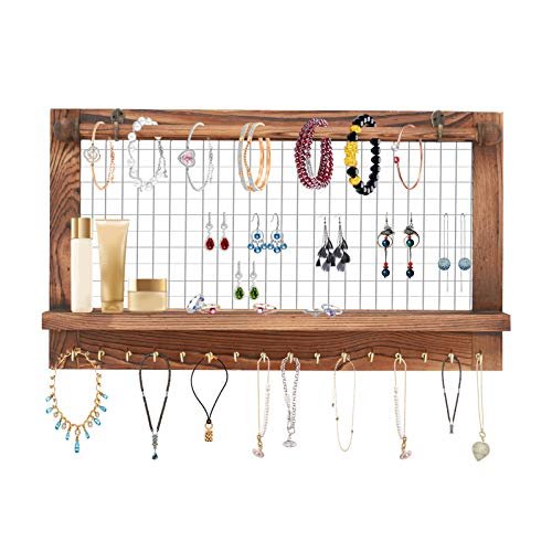 Shoze Rustic Jewelry Organizer Wall Mounted Holder Organizer Display Board with Bracelet Rod and 16 Hooks for Wall Mesh Earring Bangle Bracelet Necklace Vintage Jewelry Display