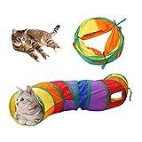 猫トンネル,Andiker 2穴付き猫トンネル折りたたみ可能水洗いS形キャットトンネル長いトンネル猫遊びペットおもちゃ (S-マルチカラー)