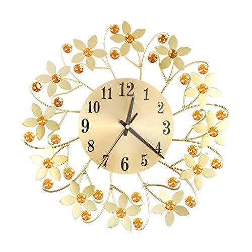 XKMY Orologio silenzioso a batteria in ferro battuto con diamante di moda orologio da parete camera da letto silenzioso metallo decorazione per la casa soggiorno ago al quarzo 2021 (colore : GB)