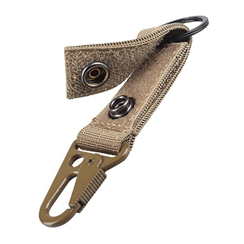 XTACER Tactical Molle Key Ring Gear Keeper Keychain Snap Secure Belt Webbing Keychain (Khaki)