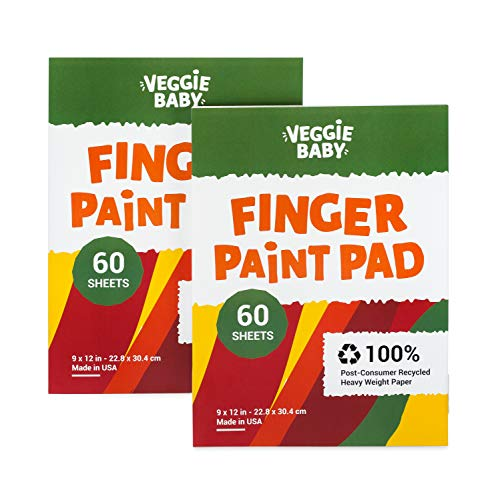 Veggie Baby Art Paper Pad 2-Pack for Finger Painting, Drawing and Coloring, 60 Sheets, Kid's and Toddler's Multimedia Paint Use, Unwaxed Heavy Stock for Crayons and Projects