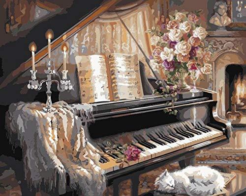 DIY Olie Verf door Aantal Kit Piano Kamer Open Haard Slapende Kat Schilderen Schilderijen Muurkunst Foto Tekenen met Borstels 16 * 20 Inch Decor Decoraties Geschenken (Zonder Frame)