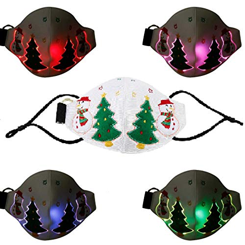 Christmas Glowing Mask 7 Color Light Up Music Mask USB Rechargeable LED Luminous Mask for Christmas Party Costume, (1PC - White)