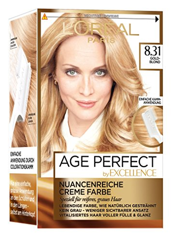 L'Oréal Paris Excellence Age Perfect Coloration, 8.31 goldblond, 3er Pack (3 x 1 Stück)
