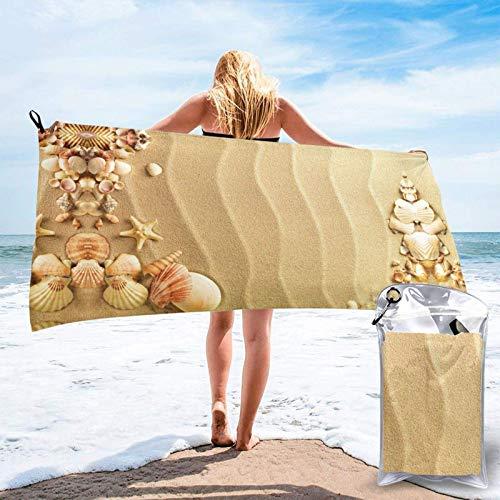 FLDONG Toalla de secado rápido para playa, playa, playa, playa, arena, impresión de arena, ultra suave, compacta, apta para camping, gimnasio, playa, hogar, 81.5 x 163 cm