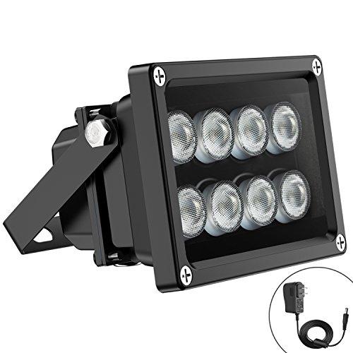 Univivi IR Illuminator 90 Degree Wide Angle 8-LEDs IR Infrared Light for Security Cameras.