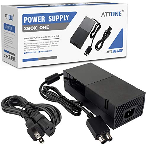 Xbox One Power Supply Brick, AC Adapter Cable Replacement Kit for Xbox One Console Games, Auto Voltage 100-240V, Black