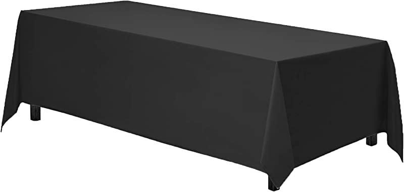 Gee Di Moda Rectangle Tablecloth 90 X 132 Inch Black Rectangular Table Cloth For 6 Foot Table In Washable Polyester Great For Buffet Table Parties Holiday Dinner Wedding More
