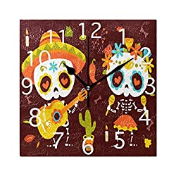Wall Clocks Cartoon Style Day of Dead Autumn Leaves Silent Non Ticking Digital Wall Clock Battery Operated Square Clocks for Kids Kitchen Bathroom Living Room Decorative School Home Bedroom Office
