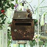 HZB Buzón clásico europeo del chalet, decoración al aire libre impermeable del buzón de la pared de la pared del jardín, marrón