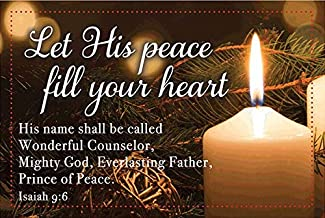 Let His Peace Fill Your Heart Christmas Pocket Cards. Bulk Package of 25 - Make Nice Handout Gifts!