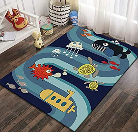 Childrens Rug 3D Abstract Submarine Rug Baby Crawling Soft Polyester Carpet 50cmx80cm Various Fish and Turtles