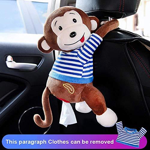 Gorgebuy-es Mono Sostenedor del Tejido para Coche, Creativo Linda Forma de Mono de Felpa Dispensador de Papel Caja de pañuelos, Dibujos Animados Animal Tejido Papel Caso