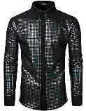 JOGAL - Camisa de vestir para hombre, diseño de lentejuelas con botones de manga larga, disfraz de fiesta de discoteca de los años 70