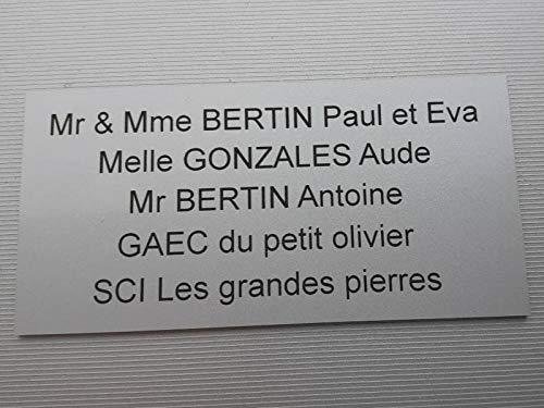 plaque ou etiquette boite aux lettres 5 lignes - argent 100x50mm