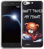 König Design Handy-Hülle kompatibel mit ZTE Blade V6 Silikon Hülle Hülle Sturzsichere Back-Cover Handyhülle - Don't Touch My Phone Bär mit Kettensäge