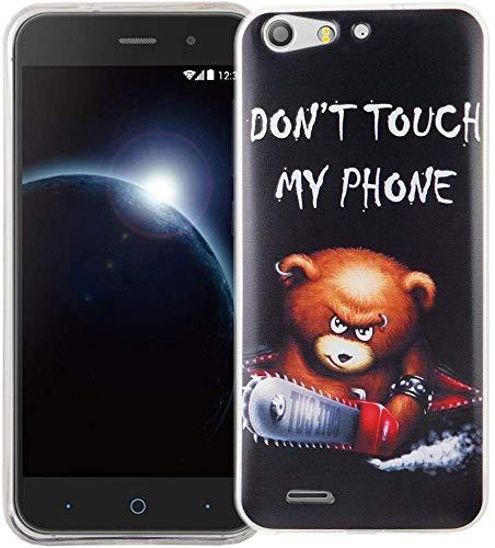 König Design Handy-Hülle kompatibel mit ZTE Blade V6 Silikon Case Hülle Sturzsichere Back-Cover Handyhülle - Don't Touch My Phone Bär mit Kettensäge