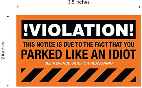 """You Parked Like an Idiot Business Cards / 100 Bad Parking Cards / 2"""" x 3"""" Cards Photo #6"""