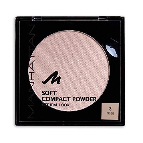 Manhattan Soft Compact Powder, Helles Kompakt Puder mit Puderquaste für einen matten, ebenmäßigen Teint, Farbe Beige 3, 1 x 9g