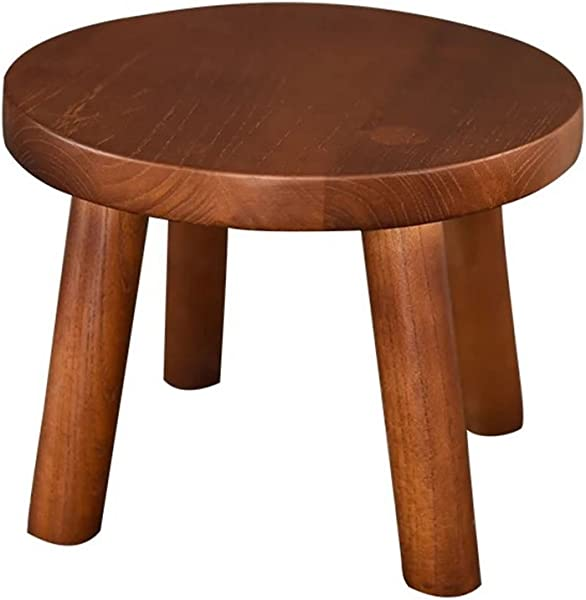 WZ Ottomans Solid Wood Footstool Natural Wood Round Ottoman Pouffe Bedroom Living Room Dining Room 30cmx23cmx30cm Color Brown