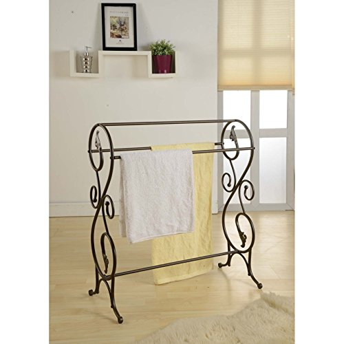 King's Brand Antique Style Pewter Finish Towel Rack Stand