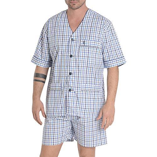 El Búho Nocturno Herren Schlafanzug Kurz Karierterer Zweiteiliger Pyjama mit kurzen Ärmeln und geknöpfte Jacke Klassische Nachtwäsche M Himmelblau Blau und Marineblau