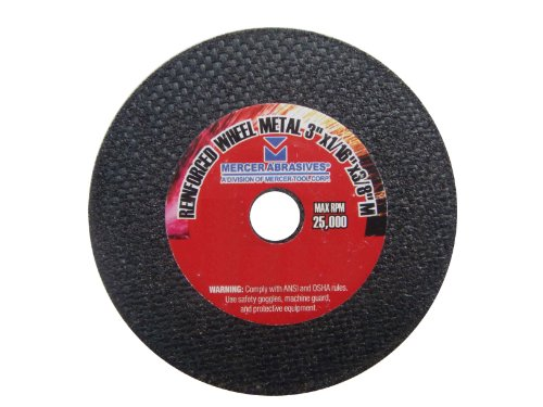 Mercer Abrasives 613070-100 Small Diameter High Speed Fully Reinforced Cut-Off Wheels 3-Inch by 1/16-Inch by 3/8-Inch M, 100-Pack