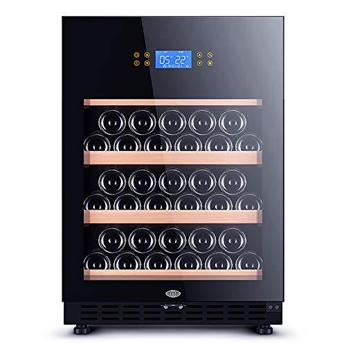 VIY Nevera para vinos Nevera de Bebidas Volumen de 118 litros 22 Botellas Puerta con Cerradura y Dos Llaves Panel táctil Iluminación Interior LED Negro,A