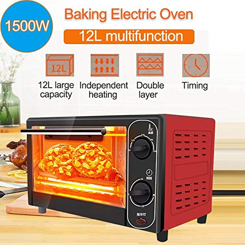 1500W 12L Household Mini Electric Oven Bread Baking Machine Intelligent Timing Baking Home Life Kitchen Bread Toaster Home Small Baking Cake Pizza Oven Electric Oven Mini