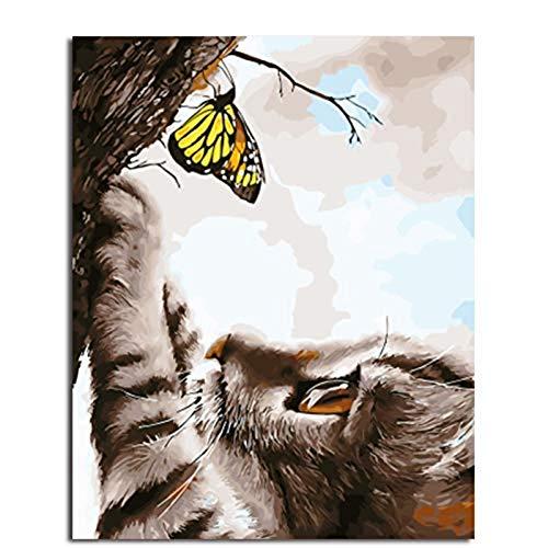 Yyboo Tier Katze Und Schmetterling DIY Malen Nach Zahlen Auf Leinwand Malerei Und Kalligraphie Wandkunst Für Wohnkultur Rahmenlos 40X50Cm