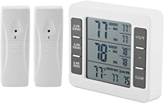 Wireless Digital Fefrigerator Thermometer, Audible Alarm Temperature Monitor with 2PCS Sensor Display